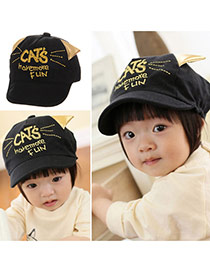 Cute Black Letter Embroideried Decorated Soft Brim Design  Canvas Children's Hats