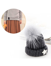 Cute Gray Star&fuzzy Ball Decorated Hat Shape Design