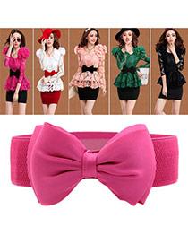 Elegant Pink Big Bowknot Decorated Pure Color Design  Leather Wide belts