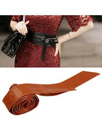 Fashion Dark Brown Pure Color Swallow Tail Shape Design