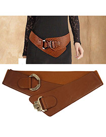 Fashion Brown Buckle Decorated Pure Color Design