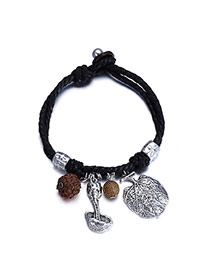 Personality Anti-silver+black Mushroom&beads Pendant Decorated Simple Design  Alloy Fashion Bracelets