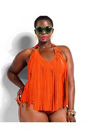 Sexy Orange Pure Color Tassel Decorated Connection Design