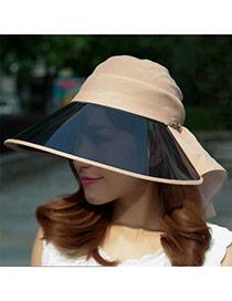 Trending Khaki Bowknot Decorated Large Brim Lenses Design(rondom Color Straps)  Fabric Sun Hats