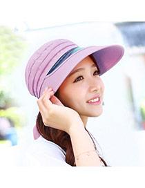 Trending Light Purple Lenses Decorated Large Brim Design  Fabric Sun Hats