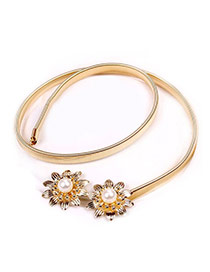 Fashion Gold Color Double Flowers Decorated Simple Design Alloy Thin belts