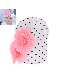 Fashion White+pink Two Flowers Decorated Simple Design Cotton Children's Hats