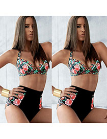 Sexy Multi-color Flower Pattern Decorated High Waist Design