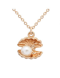 Sweet White Pearl Decorated Shell Shape Pendant Design Alloy Chains