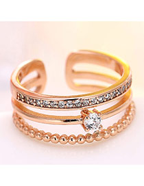 Fashion Pink Diamond Decorated Multilayer Opening Ring