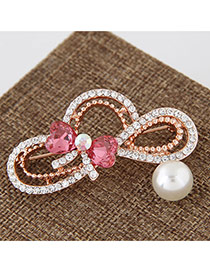 Sweet Red Pearl&bowknot Shape Decorated Hollow Out Brooch