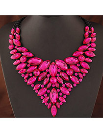 Luxury Plum Red Geometric Gemstone Decorated Hollow Out Collar Necklace