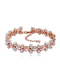Pulsera Lujosa De Capa Rosado Decorado Con Diamantes Replicas Pequeños