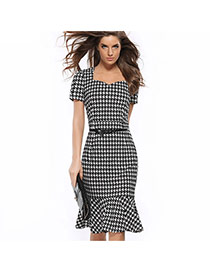 Fashion Black Plover Pattern Decorated Short Sleeve Tight Falbala Fishtail Dress