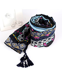Fahion Navy Blue Regular Geometric Pattern Decorated Simple Scarf