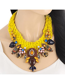 Fashion Yellow Water Drop Shape Diamond Decorated Hand-woven Collar Necklace