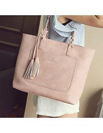 Elegant Pink Tassel Pendant&pocket Decorated Square Shoulder Bag