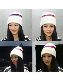 Sweet White Stripe Pattern Decorated Pure Color Cap