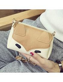 Fashion Brown Fox Pattern Decorated Color Matching Mini Handbag