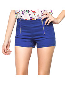 Trendy Sapphire Blue Double Zip Decorated Simple Design Pure Color Shorts