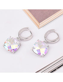 Sweet Multi-color Square Shape Diamond Decorated Simple Design Earrings