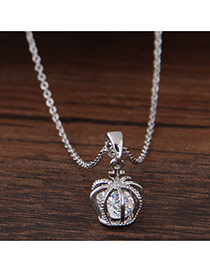Fashion Silver Color Crown Shape Pendant Decorated Simple Long Chain Necklace