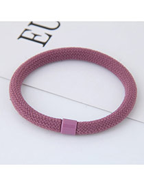 Fashion Dark Pink Round Shape Decorated Pure Color Simple Hair Band