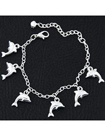 Fashion Silvercolor Dolphin Shape Pendant Decorated Pure Color Bracelet
