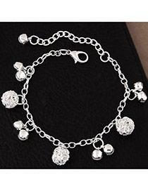 Fashion Silvercolor Small Bells Pendant Pure Color Simple Bracelet