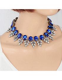 Elegant Sapphire Blue Oval Diamond&leaf Shape Decorated Simple Chocker