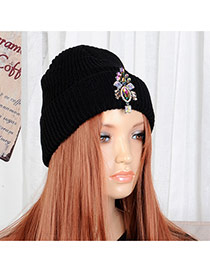 Fashion Black Oval Shape Decorated Simple Woolen Hat