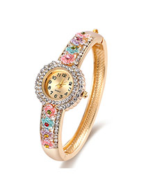 Fashion Multi-color Diamond Decorated Flower Shape Design Color Matching Watch