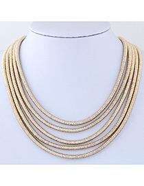 Elegant Gold Color Pure Color Decorated Multiayer Short Chain Necklace