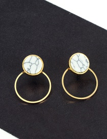 Fashion Gold Color Round Shape Decorated Simple Hollow Out Earrings