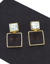 Fashion Gold Color Square Shape Decorated Simple Earrings
