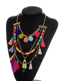 Bohemia Multi-color Tassel&feather&fuzzy Ball Decorated Simple Necklace