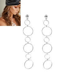 Vintage Silver Color Round Shape Decorated Simple Pure Color Long Earrings