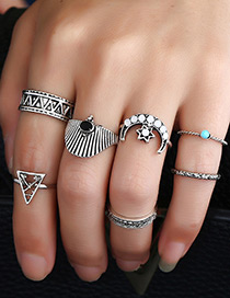 Vintage Silver Color Moon& Triangle Shape Decorated Simple Rings (7pcs)