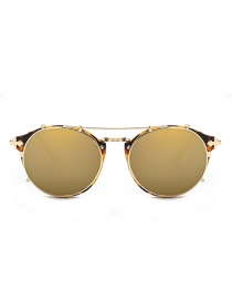 Fashion Champagne Round Frame Decorated Pure Color Sunglasses